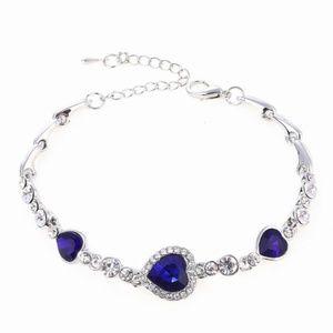 50% OFF Rhinestone Heart Charm Bangle Bracelet